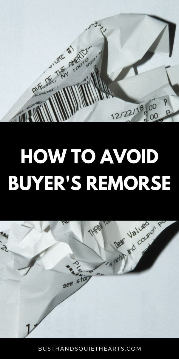 Crumbled up receipt, text: How to avoid buyer's remorse