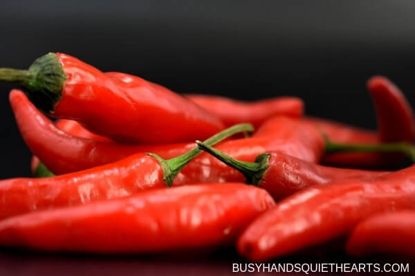 Close up of cayenne peppers