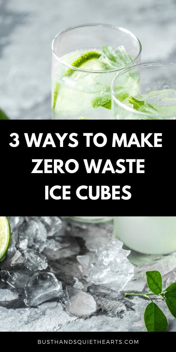 two glasses of lemonade with ice cubes and lime slices, more ice cubes on the granite countertop, text: 3 ways to make zero waste ice cubes