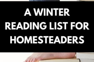 woman sitting on a huge stack of books reading one book about homesteading