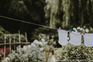 White clothes on dryer line in a garden.