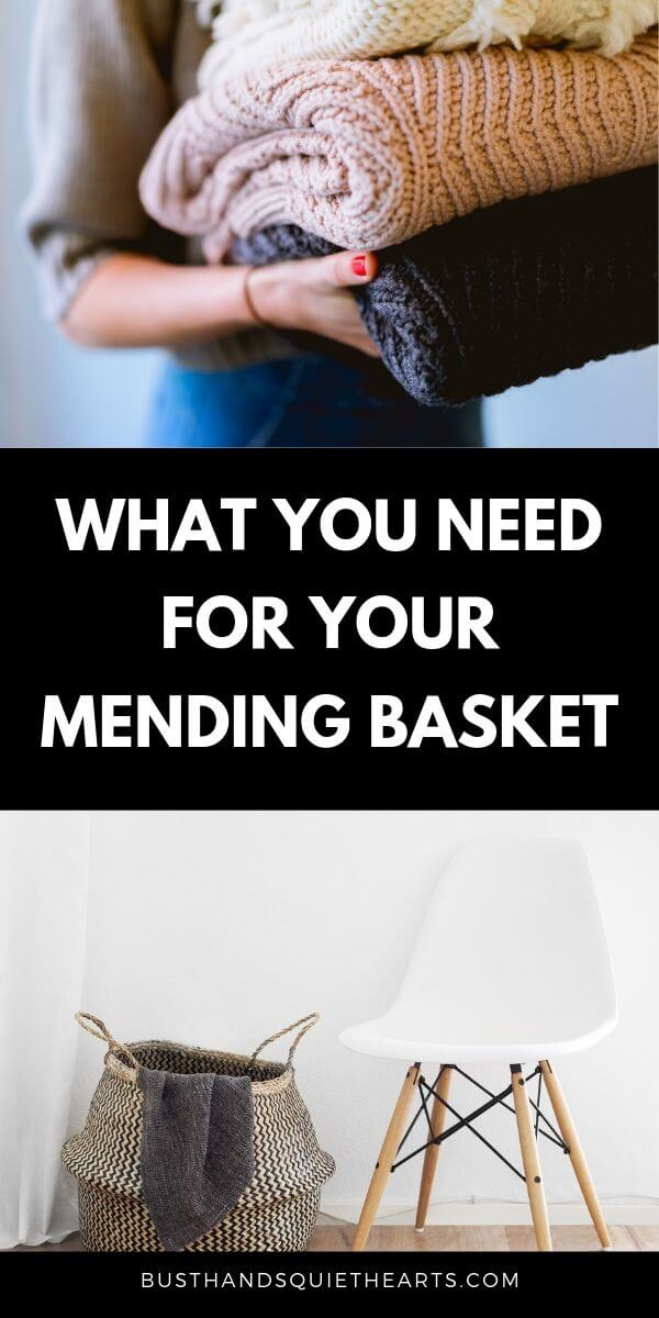 Lady holding a stack of sweaters, text: what you need for your mending basket, image of a basket besides a white chair