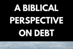 Money, bills and coins, a person downing in the sea, with only a hand reaching over the water. Text A biblical perspective on debt