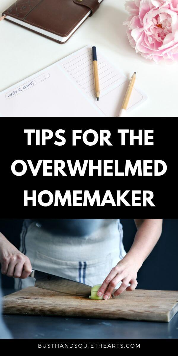 Photo planner, note pad and flower. Another photo of of woman in apron cutting a lemon, text: Tips for the overwhelmed homemaker,