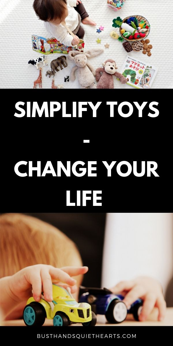 Child on blanket with a bunch of toys. Child with two cars. Text: Simplify toys - Change your life