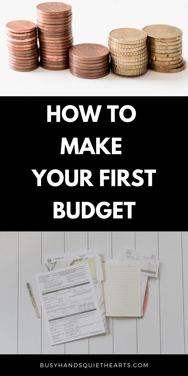 Pinterest image, text: How to make your first budget.