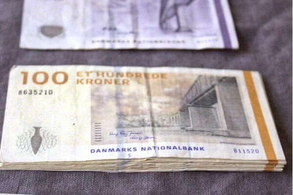 Danish currency lined up neatly