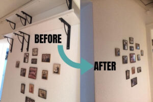Showing the difference before and after removing shelves