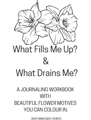 What fills me up and what drains me journaling workbook front page
