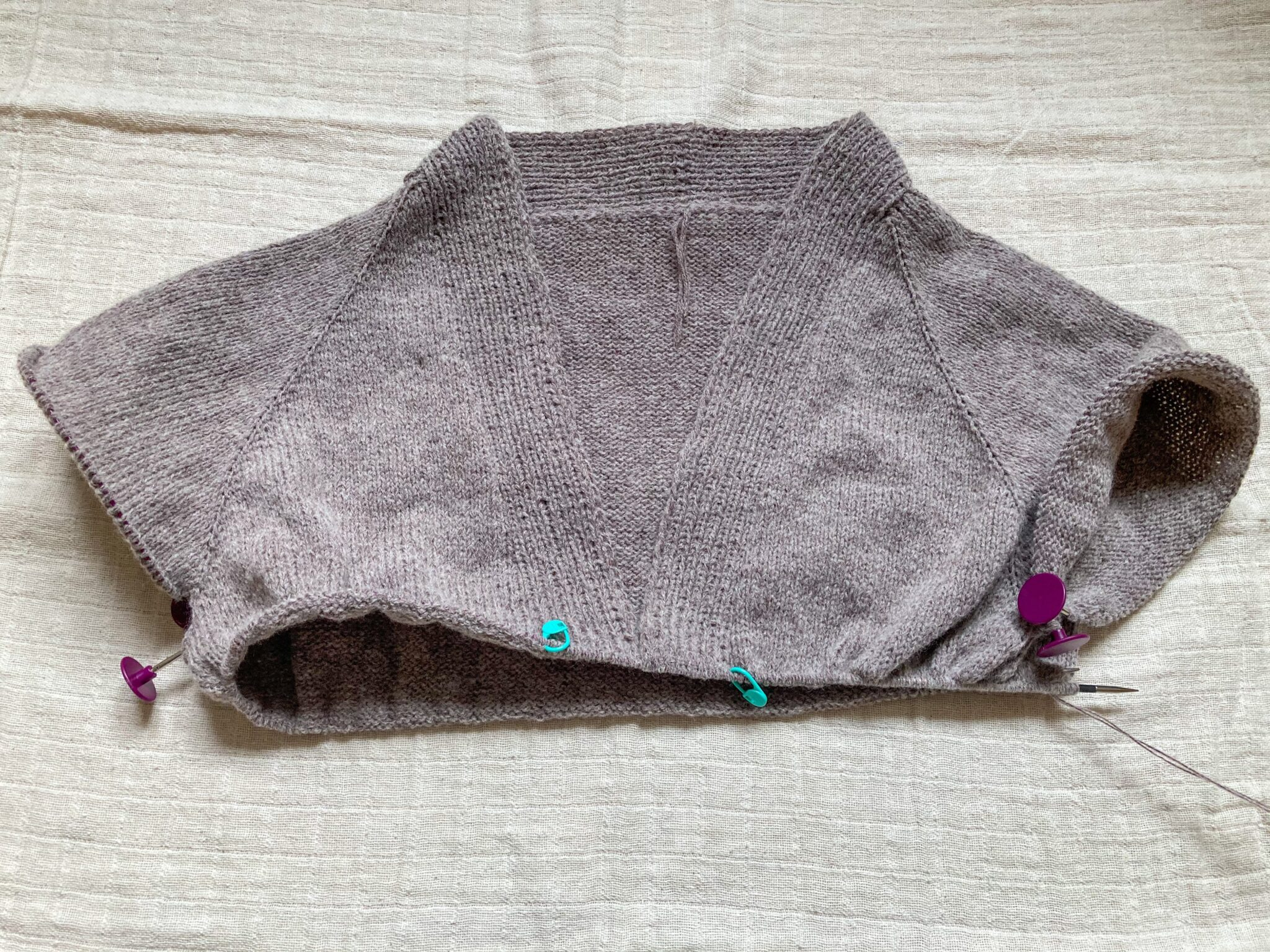 No Frills cardigan with sleeves separated.