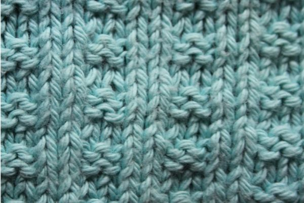 A close-up of the pattern for the dishcloth knitting pattern
