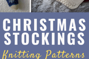 Pinterest image with all 7 stocking knitting patterns